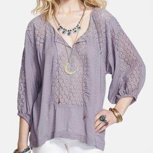 Free People lavender grey peasant lace boho shirt